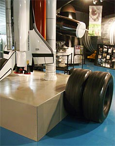 Display of tires used on the Space Shuttle lander