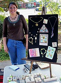 Carolyn exibiting at a craft show